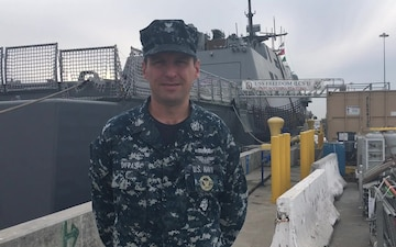 Navy Counselor 1st Class Andrew Cyvas, Holiday Greetings, Commander, Littoral Combat Ship Squadron ONE.