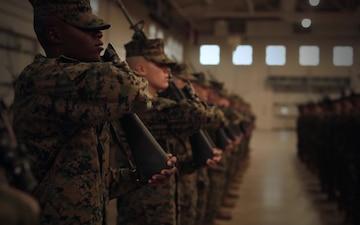 Marine recruits demonstrate discipline through drill on Parris Island