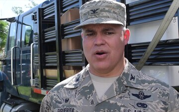 Interview: Col. Raymond Figueroa, 156th Airlift Wing Commander, during supply mission in Yabucoa