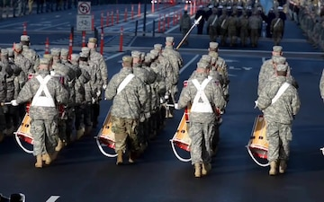 National Guardsmen posture at FedEX field for the 58th Presidential Inauguration