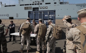 TF 51/5 Sailors and Marines embark aboard French Ship Tonnerre