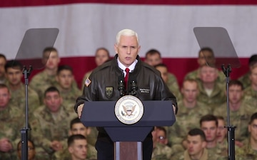 Vice President of the United States Mike Pence visits troops at Bagram Airfield