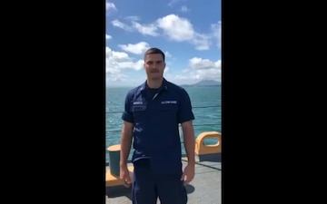 A Coast Guard Cutter Northland LT J.g. gives holiday message while underway