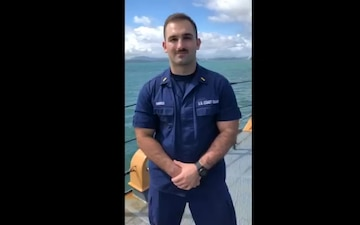 A Coast Guard Cutter Northland Ensign gives holiday message while underway