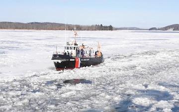 Frigid Temperatures Keep Coast Guard Crews Busy Breaking Ice on Hudson River