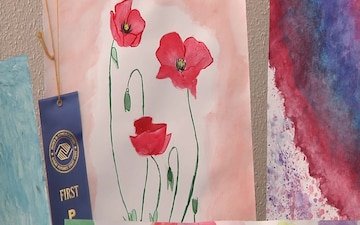 Iwakuni youth show off masterpieces during art exhibit (B-Roll)