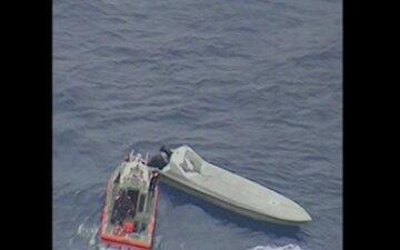 Coast Guard Cutter Stratton boarding teams interdict suspected drug smuggling low profile vessel in eastern Pacific Ocean