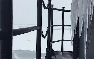 Coast Guard Cutter Polar Star breaks ice supporting Operation Deep Freeze 2018