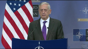 Mattis Speaks to Reporters at NATO Headquarters