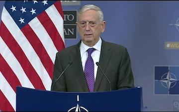 Mattis Speaks to Reporters at NATO Headquarters