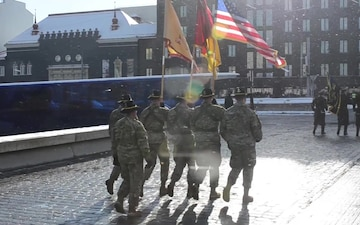 US Army marches in Estonia's Independence Day parade (B-Roll)