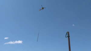 Restoring the electrical grid from the air -- pole placement