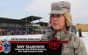 Command CMSgt Amy Giaquinto interviewed during the International Women's Day celebration at the JMTG-U
