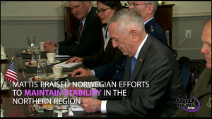 Mattis Welcomes Norwegian Defense Minister to Pentagon