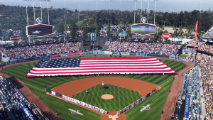 Los Angeles Dodger's Receive Flyover from Vance Air Force Base