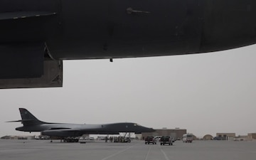 B-1 Arrival at Al Udeid Air Base Qatar
