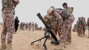 Task Force Spartan Soldiers and Jordan Armed Forces Train on Mortars during Jordan Operational Engagement Program