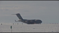 Fully-loaded C-17 uses compacted deep-snow airfield built by Corps of Engineers R&D