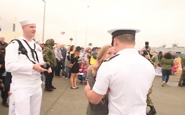 The Arleigh Burke-class guided-missile destroyer USS Sterett (DDG 104) returns to Naval Base San Diego