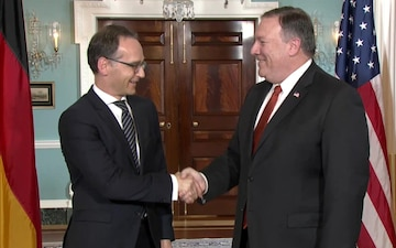 Secretary Pompeo Meets with German Foreign Minister Heiko Maas (camera spray)
