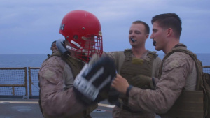 26th MEU Marines participate in a Marine Corps MAI course aboard the USS Oak Hill at sea