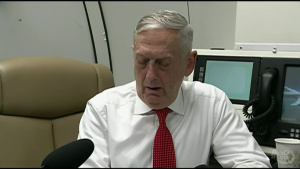 Mattis Briefs Reporters During Flight to Hawaii