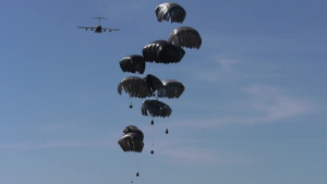 173rd Airborne, Italian, and Israeli jump into Poland: b-roll