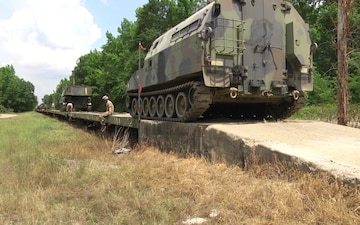 Arkansas National Guard Load Artillery Onto Trains From Transport To Camp Guernsey