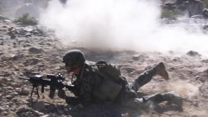 Alpha Company, 1st Battalion, 23rd Marines, attacks Range 410A