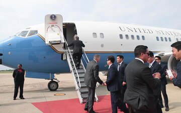 Secretary of State Mike Pompeo Departs Osan Air Base