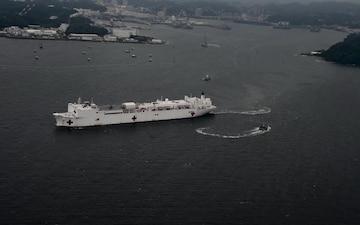 USNS Mercy Departs Yokosuka (B-Roll)