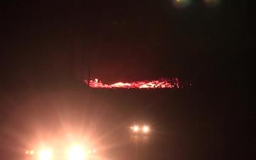 Night video of Big Island lava river