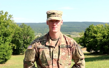 Pfc. Evan Brown gives a 4th of July shout out