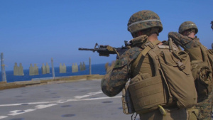 26th MEU Marines aboard the USS Oak Hill particpate in a CMP shoot