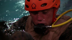 Water Survival: 1st Battalion, 2nd Marines conduct underwater egress training