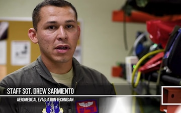 For Staff Sgt. Drew Sarmiento, his training and perserverance has paid off, and he can now hit the skies as an Aeromedical Evacuation Technician.