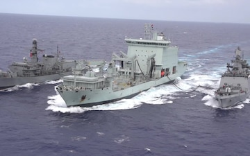 Chilean, Indian, and Royal Canadian navies resupply at sea