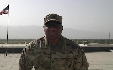 Sgt. 1st. Class Kenneth Humphrey sends a back to school greeting to his family