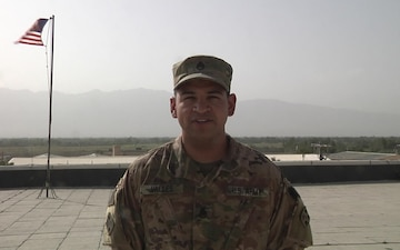 Staff Sgt. Michael Valles sends a back to school greeting to his family