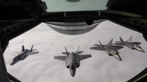 100th Air Refueling Wing refuels F-22 Raptors Aug. 15, 2018