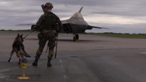 F-22 Raptors and Norwegian F-35s Land in Norway