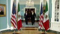 Secretary Pompeo Camera Spray with Mexican Secretary Caso