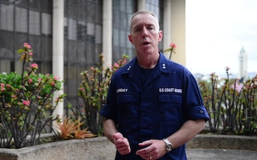 Rear Adm. Kevin Lunday speaks on Hurricane Lane and Coast Guard resources