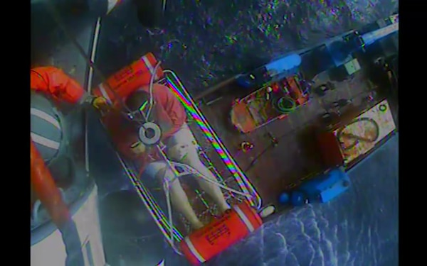 The Coast Guard medevacs a man after a diving accident near False Pass, Alaska, Sept. 13, 2018. A Coast Guard MH-60 Jayhawk helicopter crew based out of Air Station Kodiak hoisted the man and brought him to receive medical care in Cold Bay. U.S. Coast Guard video by Air Station Kodiak
