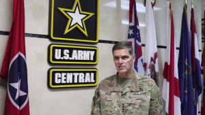 U.S. Army Gen. Joseph Votel answers questions at Camp As Sayliayh, Qatar