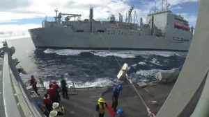 USS Shoup replenishes from USNS Wally Schirra
