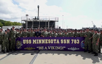 EMN1 Cody Carson and the crew of USS Minnesota (SSN-783) shout-out home state and the Minnesota Vikings