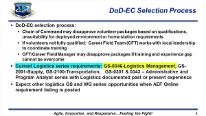 DoD Expeditionary Civilian Program (DoD-EC)  - Logistics Career Field Team