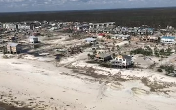 Coast Guard assesses damage during overflight of Mexico Beach, Fl