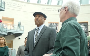 Sgt. Maj. John Canley (Ret) tours the National Museum of the Marine Corps